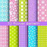 10 different flower vector seamless patterns. Endless texture for wallpaper, fill, web page background, surface texture stock illustration