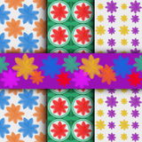 3 different flower vector seamless patterns Royalty Free Stock Photography