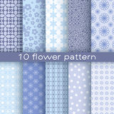 10 different flower vector seamless patterns. Texture for wallpaper, fills, web page background Stock Images