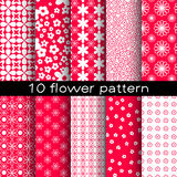 10 different flower vector seamless patterns. Royalty Free Stock Photos