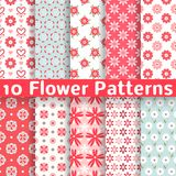 Different flower vector seamless patterns stock illustration