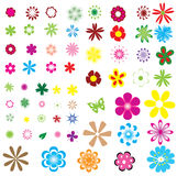 Different flowers. Isolated on white background Stock Photo
