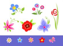 Different flowers. The various color stylized flowers on a white-blue background Stock Images