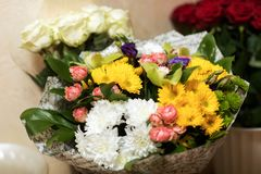 Different flowers bouqet outdoor. Close up royalty free stock photos