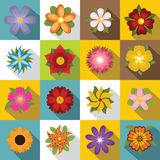 Different flowers icons set, flat style Stock Photos