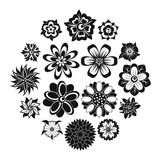 Different flowers icons set, simple style. Different flowers icons set. Simple illustration of 16 different flowers vector icons for web Royalty Free Stock Photo