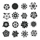 Different flowers icons set, simple style Royalty Free Stock Images