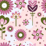 Different flowers of violet color. Big, small, tiny, pink, white royalty free illustration