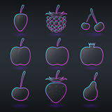 Different fluorescent neon fruits icons Stock Images