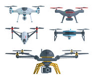 Different flying drones isolated on white. Royalty Free Stock Photo