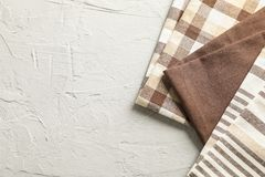 Different folded fabric napkins and space for text royalty free stock image