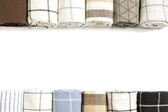 Different folded fabric napkins and space for text stock photography