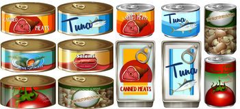 Different food in aluminum cans Royalty Free Stock Photos