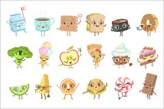 Different Food Childish Characters Emotion Set Of Detailed Adorable Flat Vector Drawings Isolated On white Background. Different Food Childish Characters vector illustration