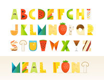 Different food colorful creative Alphabet Royalty Free Stock Image