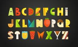 Different food colorful creative Alphabet Stock Photos