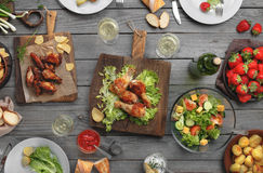 Different food cooked on the grill Royalty Free Stock Photos