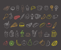 Different food doodles. Lineart hand-drawn elements Royalty Free Stock Photography