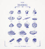 Different food drawings Royalty Free Stock Image