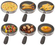 Different food in the frying pan Royalty Free Stock Image
