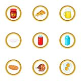 Different food icons set, cartoon style Royalty Free Stock Photography