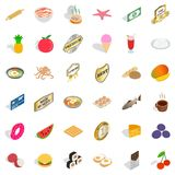 Different food icons set, isometric style. Different food icons set. Isometric style of 36 different food vector icons for web isolated on white background Royalty Free Stock Image