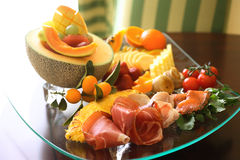 Different food on plate Royalty Free Stock Photos