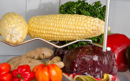 Different food products inside a refrigerator Stock Image