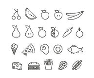 Different food silhouette icons collection Royalty Free Stock Photography