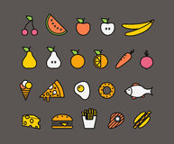 Different food silhouette icons collection Stock Photography