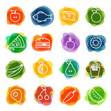 Different food silhouette icons collection Royalty Free Stock Images
