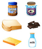 Different foods with vitamins and minerals Stock Photo