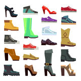 Different footwear casual shoes vector set. Fashion boot to man or woman illustration Royalty Free Stock Photography