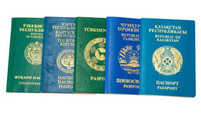 Different foreign passports on white background Stock Images