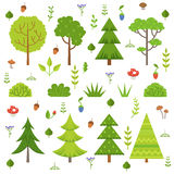 Different forest plants, trees mushrooms and other floral elements. Cartoon vector illustration isolate on white Stock Photography