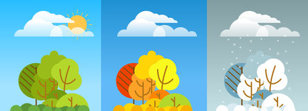 Different forest season illustration. Lineart design Royalty Free Stock Photos