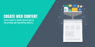 Creative web content, writing, production, development, . Content optimization for digital marketing. Flat design vector banner. royalty free illustration