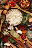 Different fragrant spices and seasoning Royalty Free Stock Photography