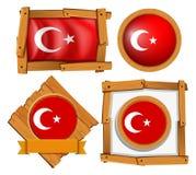 Different frame design for flag of Turkey Stock Images