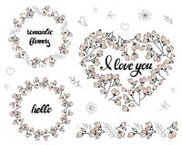 Different frames with cherry buds and flowers vector illustration