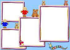 Different frames with toys. Four Frames in different sizes with some toys. Useful for advertising, offers etc. Available as Illustrator-File vector illustration