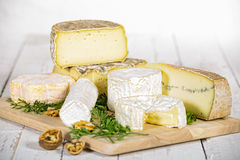 Different french cheeses Stock Images