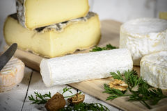 Different french cheeses Royalty Free Stock Image