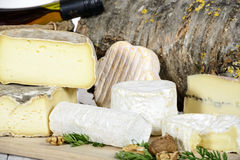 Different french cheeses Royalty Free Stock Images