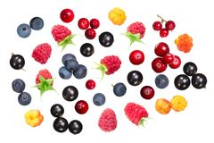 Different fresh berries, top view Royalty Free Stock Photos