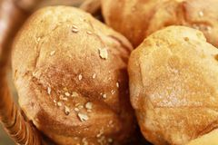 Different fresh bread loaves. Closeup royalty free stock photos