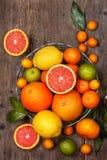Different fresh citrus fruit (Top view ) Stock Images