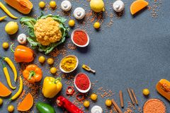 Different Fresh colorful organic vegetables and spices. healthy raw vegan food on grey background with free copy space. Flat lay, top view Stock Images