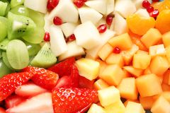 Different fresh cut fruits. Closeup royalty free stock images