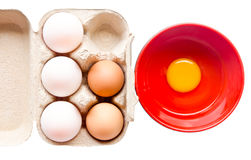 Different fresh eggs and duck eggs. Royalty Free Stock Images